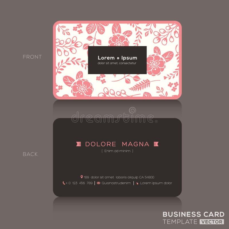 Plantilla linda de la tarjeta de visita con el fondo rosado del estampado de flores ilustración del vector