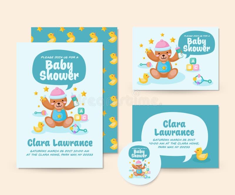Plantilla linda del ejemplo de la tarjeta de la invitación de Teddy Bear Theme Baby Shower ilustración del vector