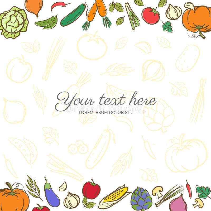 Plantilla linda del fondo de la bandera de las frutas y verduras con la copia ilustración del vector