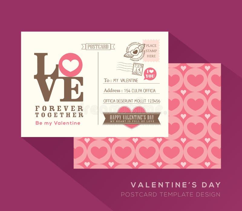 Plantilla linda del vector del diseño de tarjeta de la postal de la tarjeta del día de San Valentín libre illustration