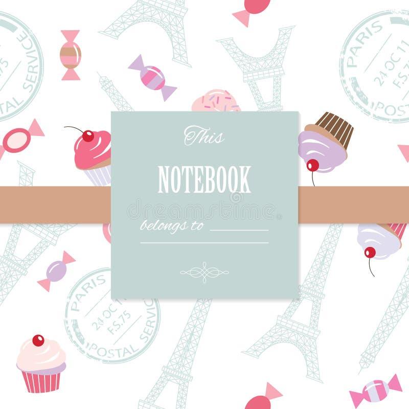 Plantilla linda para el diseño femenino del libro de recuerdos, cumpleaños, boda, cubierta del cuaderno, diario, página del álbum stock de ilustración