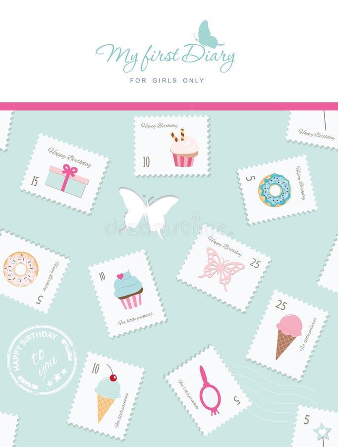 Plantilla linda para la cubierta del cuaderno para las muchachas Mi primer diario Modelo inconsútil incluido con los sellos, las  stock de ilustración