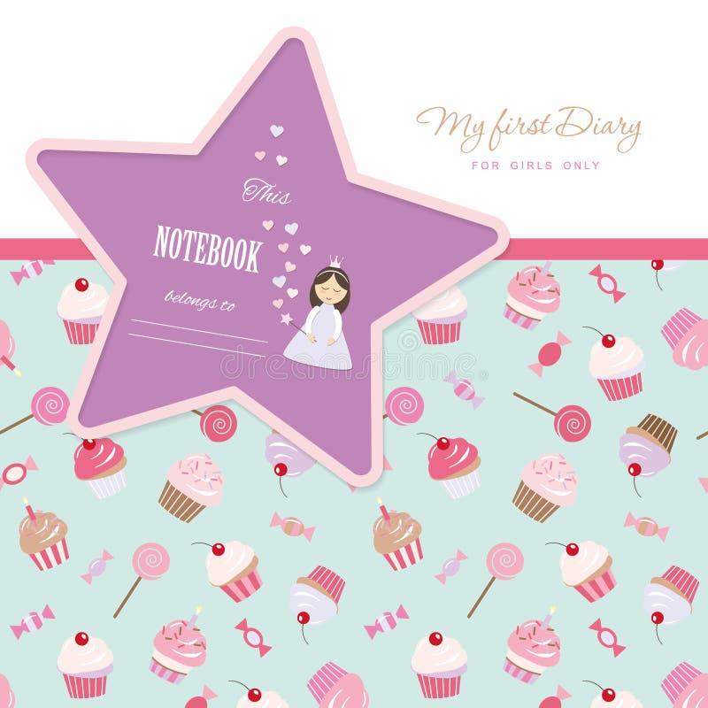 Plantilla linda para las chicas de portada del cuaderno Mi primer diario Modelo inconsútil incluido con las magdalenas y los dulc libre illustration