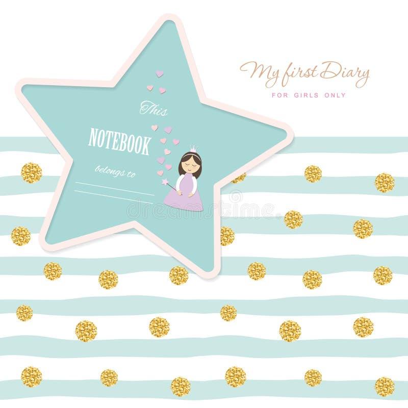 Plantilla linda para las chicas de portada del cuaderno Mi primer diario Modelo inconsútil rayado incluido con el lunar del confe libre illustration