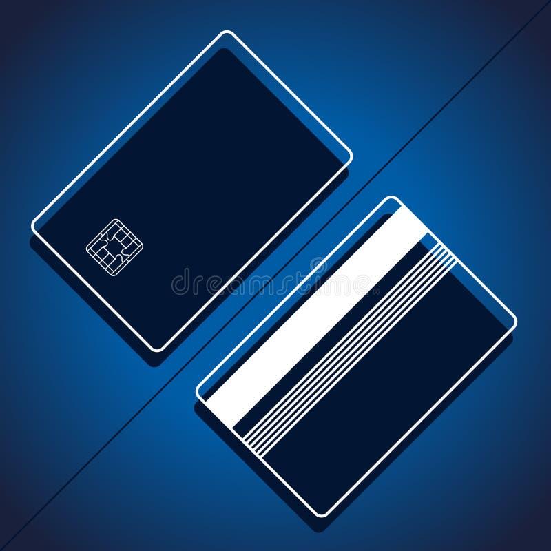Plantilla linear de Digitaces de la maqueta de la tarjeta de crédito bancaria ilustración del vector