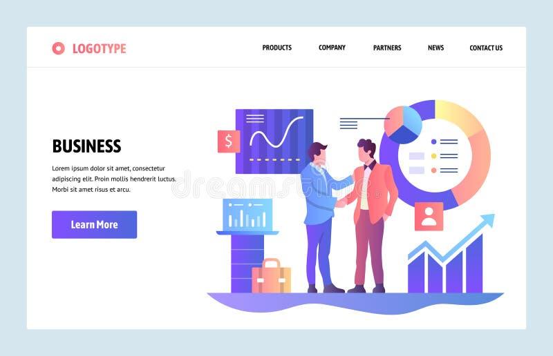 Plantilla linear del diseño del arte del sitio web del vector concepto de la sociedad del negocio Los hombres de negocios cortaro libre illustration