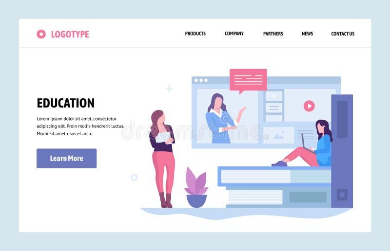 Plantilla linear del diseño del arte del sitio web del vector Educación en línea y Internet webinar Conceptos de aterrizaje de la libre illustration