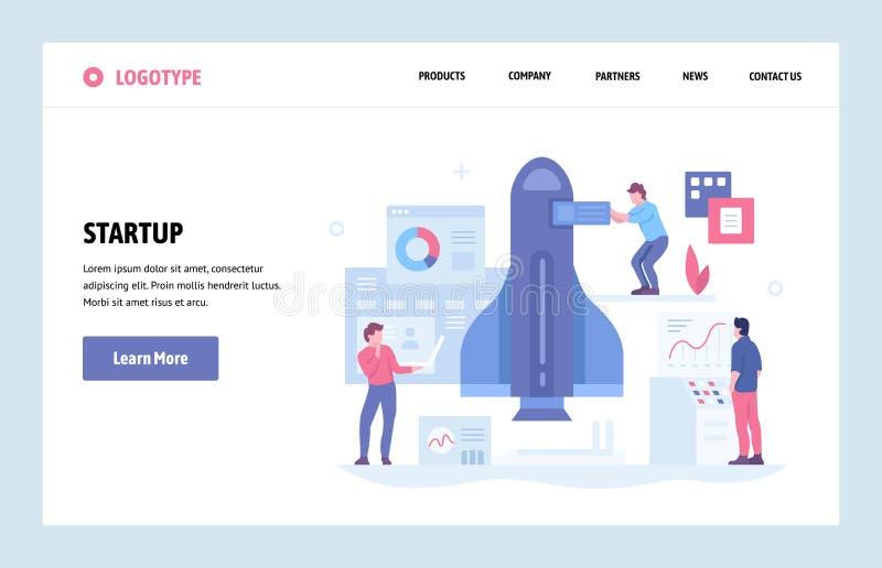 Plantilla linear del diseño del arte del sitio web del vector Nuevo concepto del negocio del inicio y del lanzamiento Página de a ilustración del vector