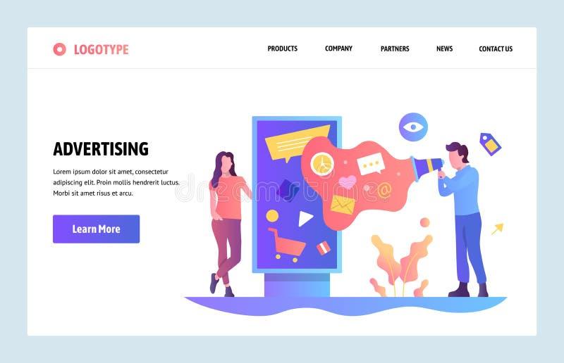 Plantilla linear del diseño del arte del sitio web del vector Publicidad de Digitaces y márketing en línea Anuncios al aire libre stock de ilustración