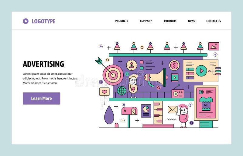 Plantilla linear del diseño del arte del sitio web del vector Publicidad de Digitaces y márketing en línea Conceptos de aterrizaj ilustración del vector
