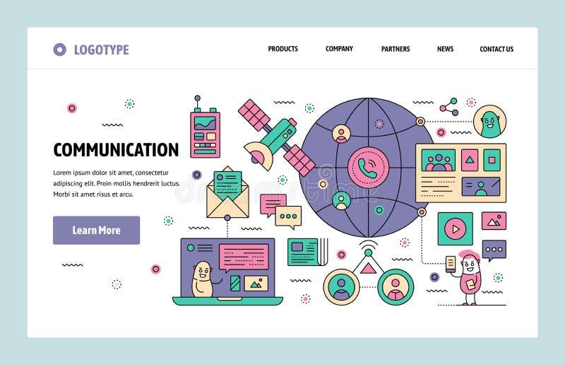 Plantilla linear del diseño del arte del sitio web del vector Sistema de telecomunicación global por satélite Conceptos de aterri stock de ilustración