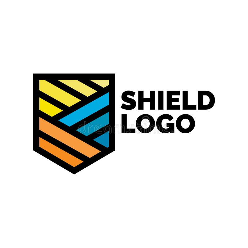Plantilla linear elegante del diseño del logotipo del escudo ilustración del vector