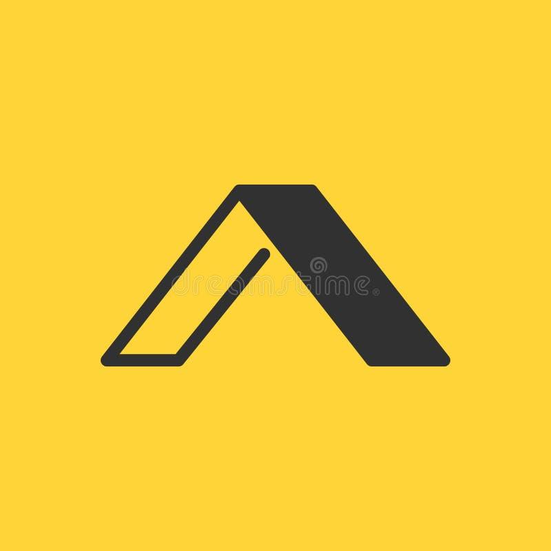 Plantilla linear y plana del logotipo elegante de la letra inicial A del diseño, ejemplo del vector aislado en fondo amarillo ilustración del vector