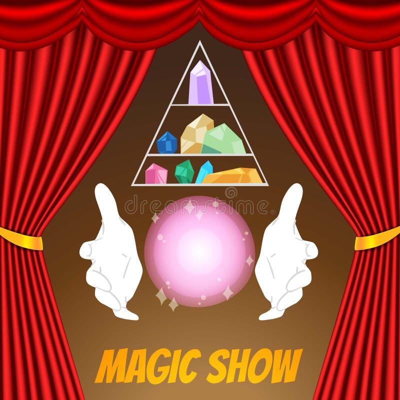 Plantilla mágica del vector del cartel de la demostración Guantes del mago, esfera, cristales mágicos y cortinas rojas Demostraci stock de ilustración