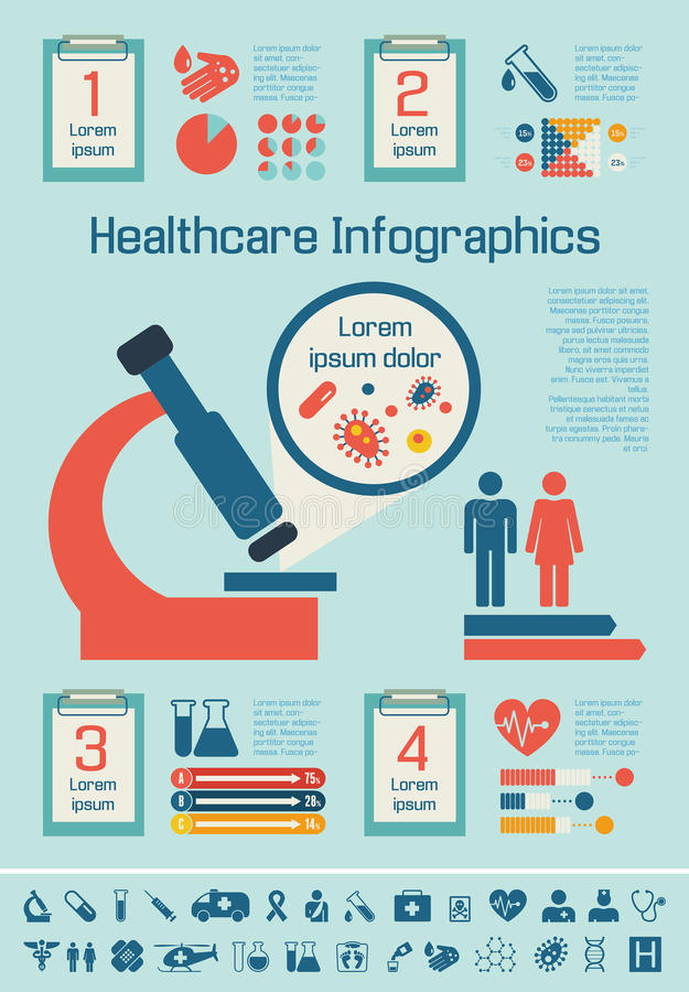 Plantilla médica de Infographic. stock de ilustración