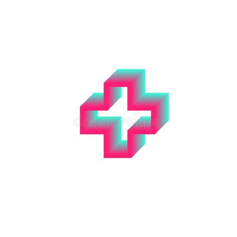 Plantilla médica del diseño del símbolo de la salud cruzada del logotipo del contorno de la pendiente, ejemplo del vector stock de ilustración