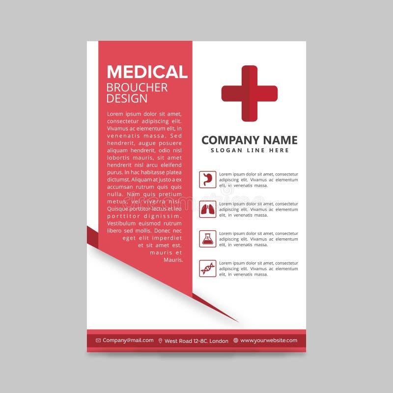 plantilla médica roja de la disposición del aviador, fondo del folleto, prospecto stock de ilustración