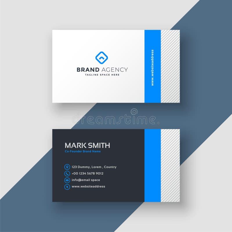 Plantilla mínima azul profesional de la tarjeta de visita del estilo ilustración del vector