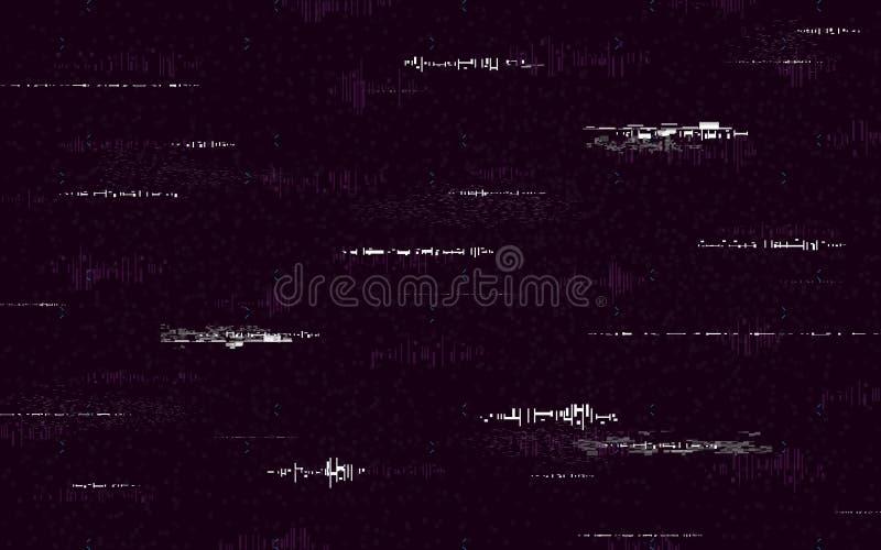 Plantilla mínima de la interferencia Fondo retro de VHS Ruido abstracto con las líneas glitched Distorsiones blancas en el contex stock de ilustración