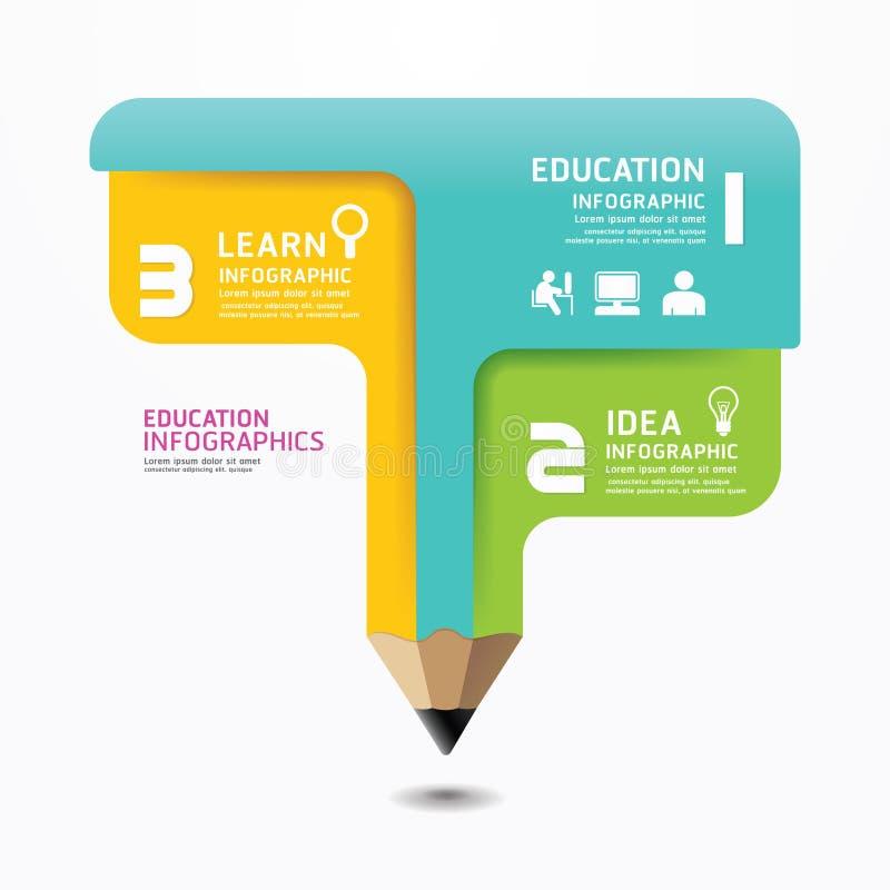 Plantilla mínima del estilo del diseño de Infographic del lápiz. stock de ilustración