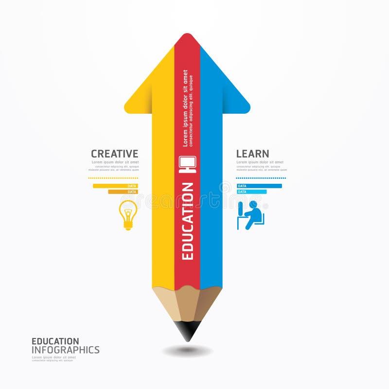 Plantilla mínima del estilo del diseño de Infographic del lápiz de la flecha. libre illustration
