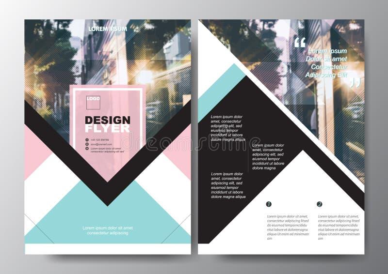 Plantilla mínima del vector de la disposición de diseño del aviador del folleto del cartel de A4 tamaño, color en colores pastel ilustración del vector