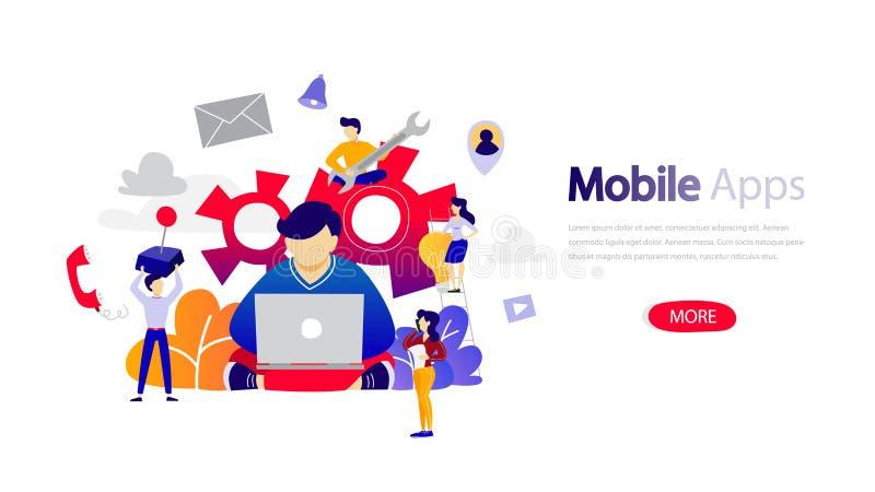 Plantilla móvil de la bandera de los apps para la página web ilustración del vector