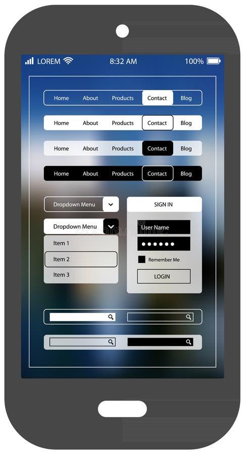 Plantilla móvil del app del ui del smartphone plano del diseño ilustración del vector