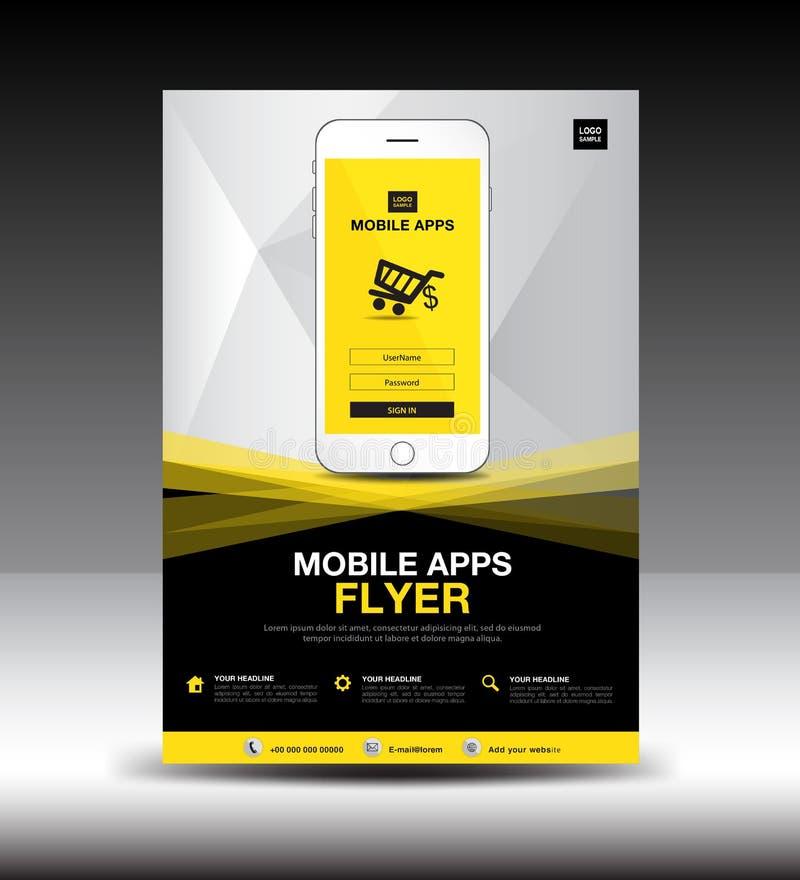 Plantilla móvil del aviador de Apps Disposición de diseño del aviador del folleto del negocio maqueta del icono del smartphone pr libre illustration