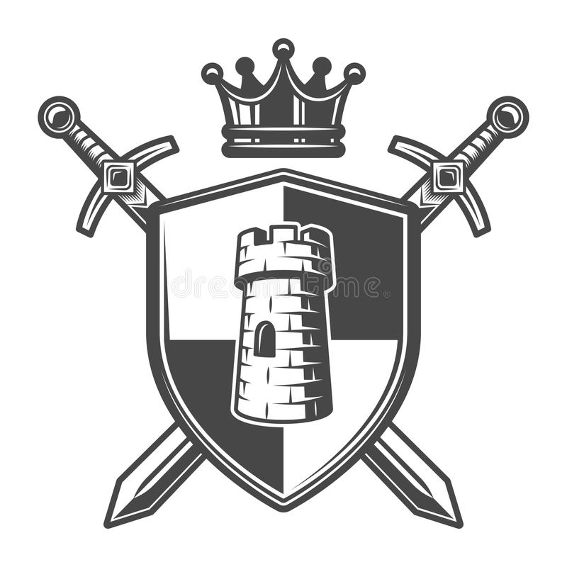 Plantilla medieval del escudo de armas del vintage stock de ilustración
