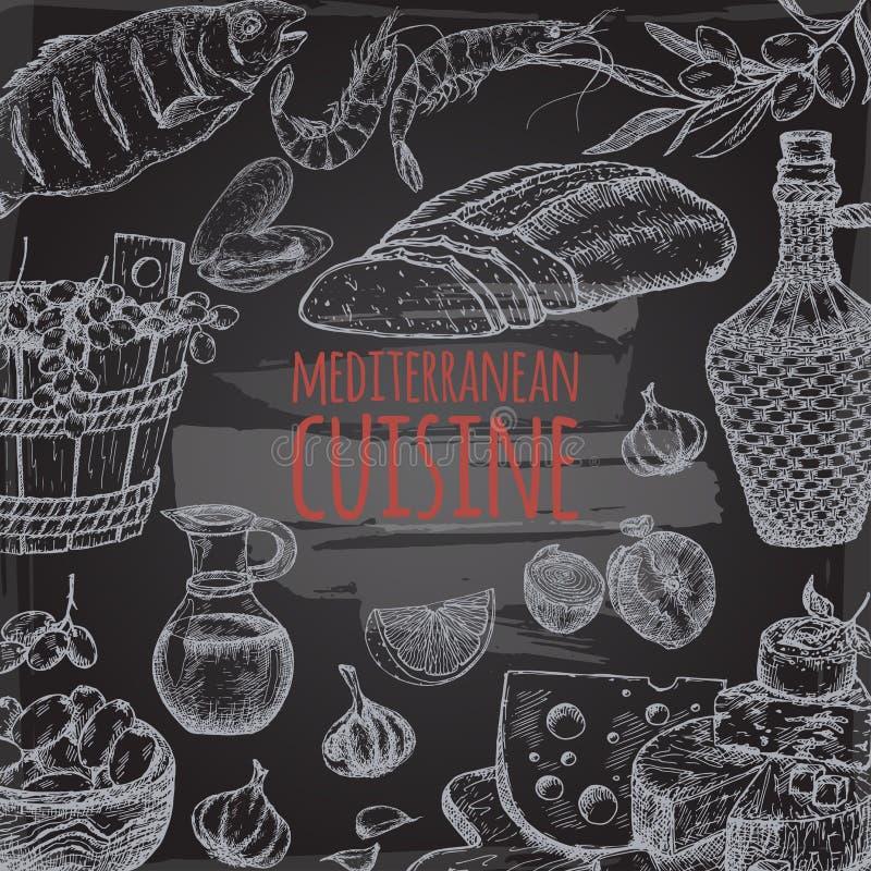 Plantilla mediterránea de la cocina con pan, vid, queso, aceitunas, mariscos en la pizarra stock de ilustración