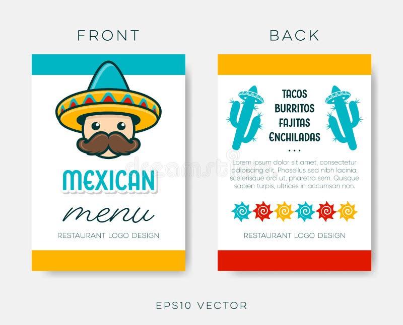 Plantilla mexicana del menú del restaurante del vector en blanco ilustración del vector