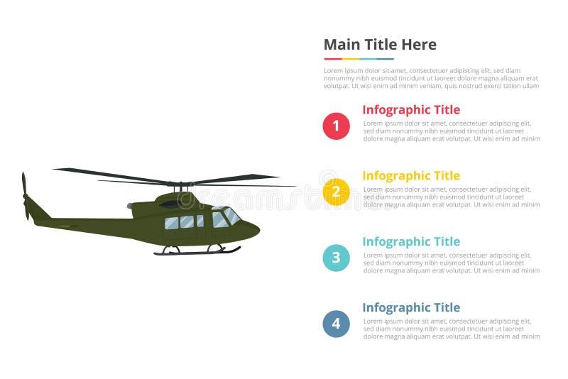Plantilla militar del infographics del armyu del helicóptero con 4 puntos de la descripción del texto del espacio libre - vector libre illustration
