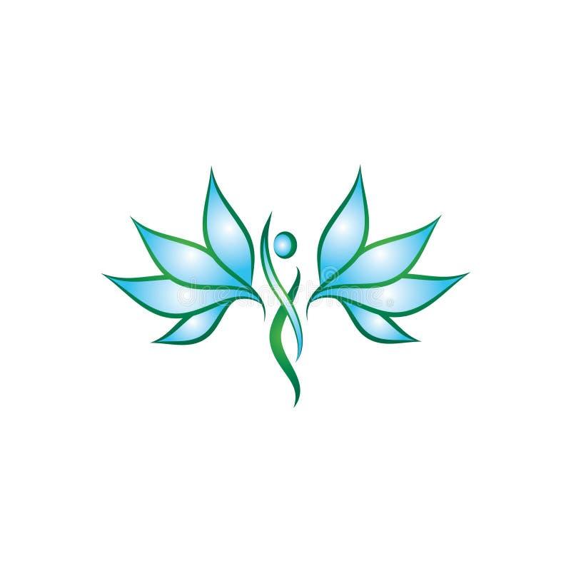 Plantilla minimalista y moderna del icono del ángel ilustración del vector