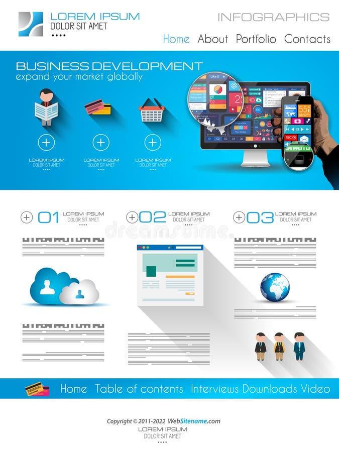 Plantilla moderna atractiva del web del negocio con los elementos planos de UI libre illustration