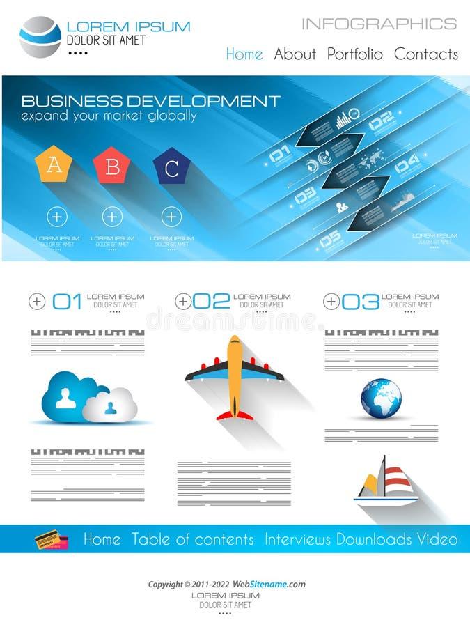 Plantilla moderna atractiva del web del negocio con los elementos planos de UI stock de ilustración