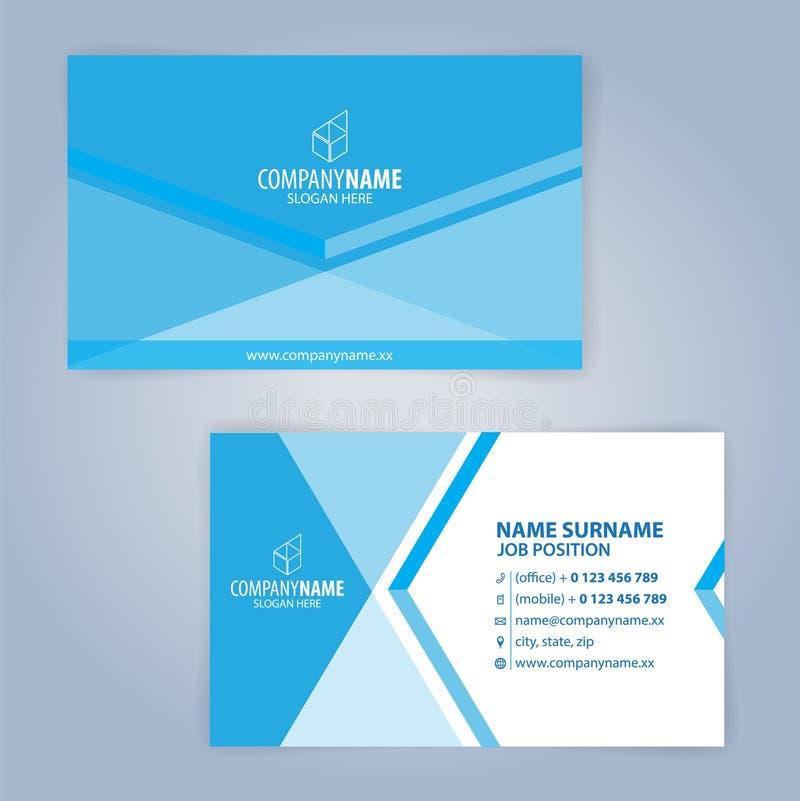 Plantilla moderna azul y blanca de la tarjeta de visita imagenes de archivo