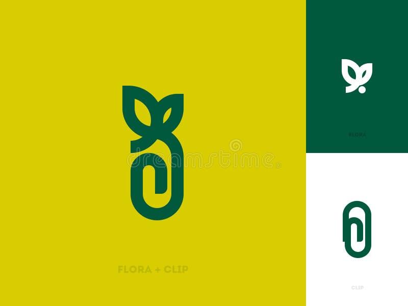 Plantilla moderna de la marca del logotipo con la hoja y el clip de papel ilustración del vector