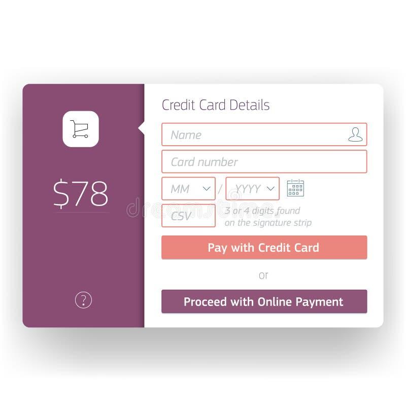 Plantilla moderna de la pantalla del pago y envío de la interfaz de usuario para stock de ilustración