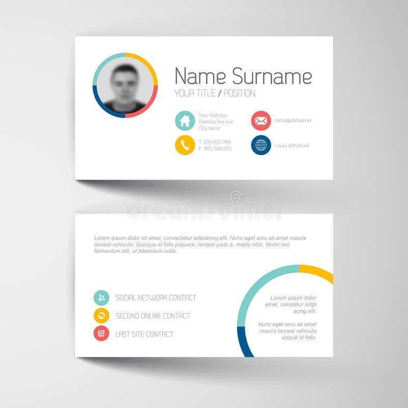 Plantilla moderna de la tarjeta de visita con la interfaz de usuario plana stock de ilustración