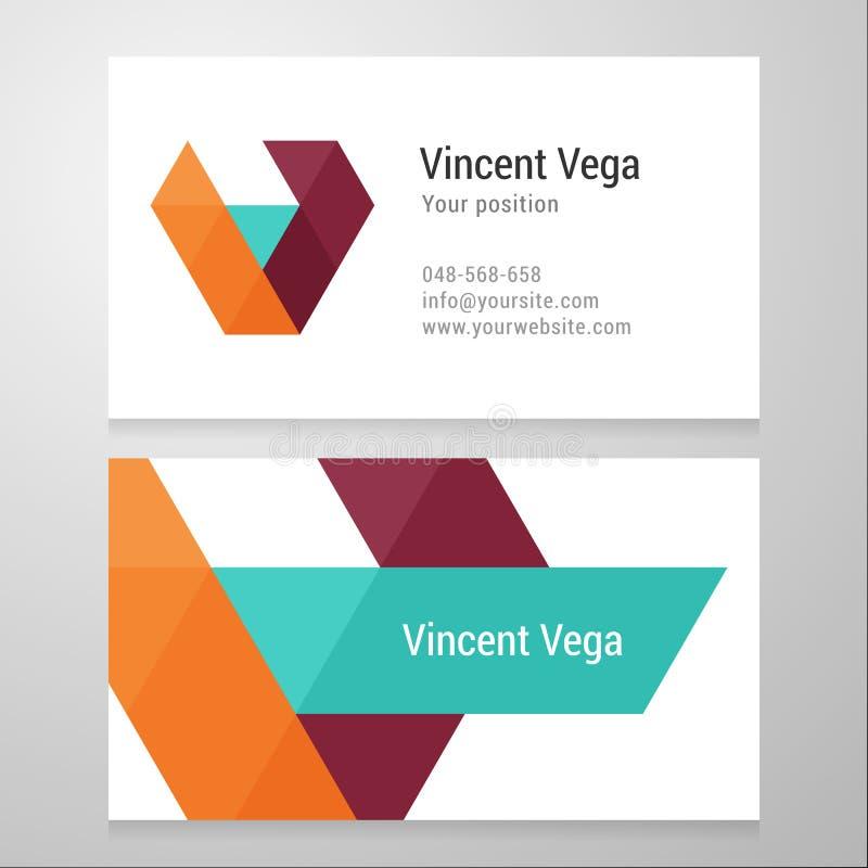 Plantilla moderna de la tarjeta de visita de la letra V ilustración del vector