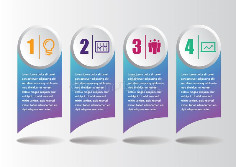 Plantilla moderna del concepto del negocio de Infographics con 4 pasos, iconos para 4 opciones, multicolores, etiquetas, espacio  stock de ilustración