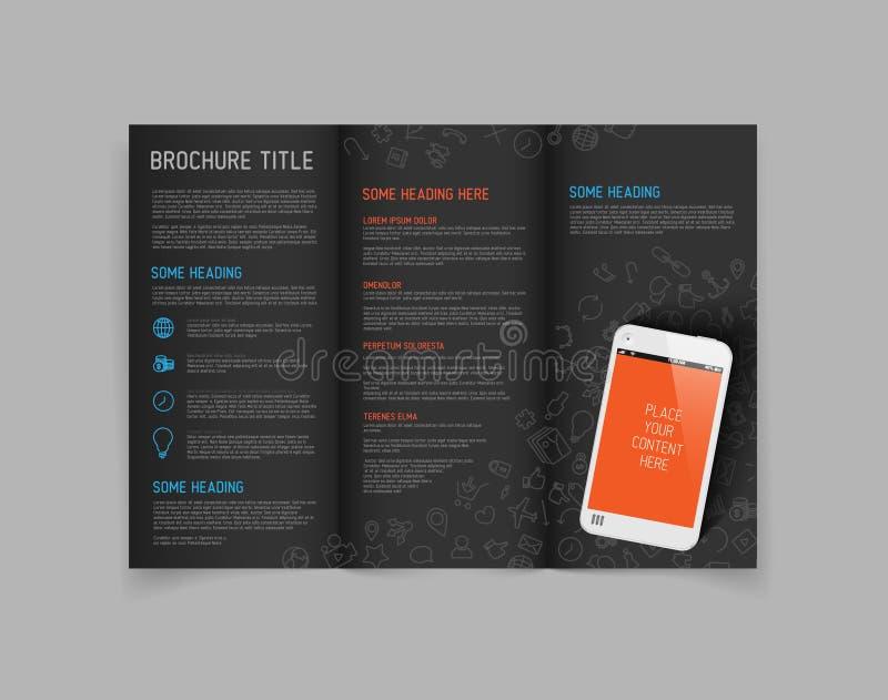 Plantilla moderna del diseño del folleto del doblez del vector tres stock de ilustración