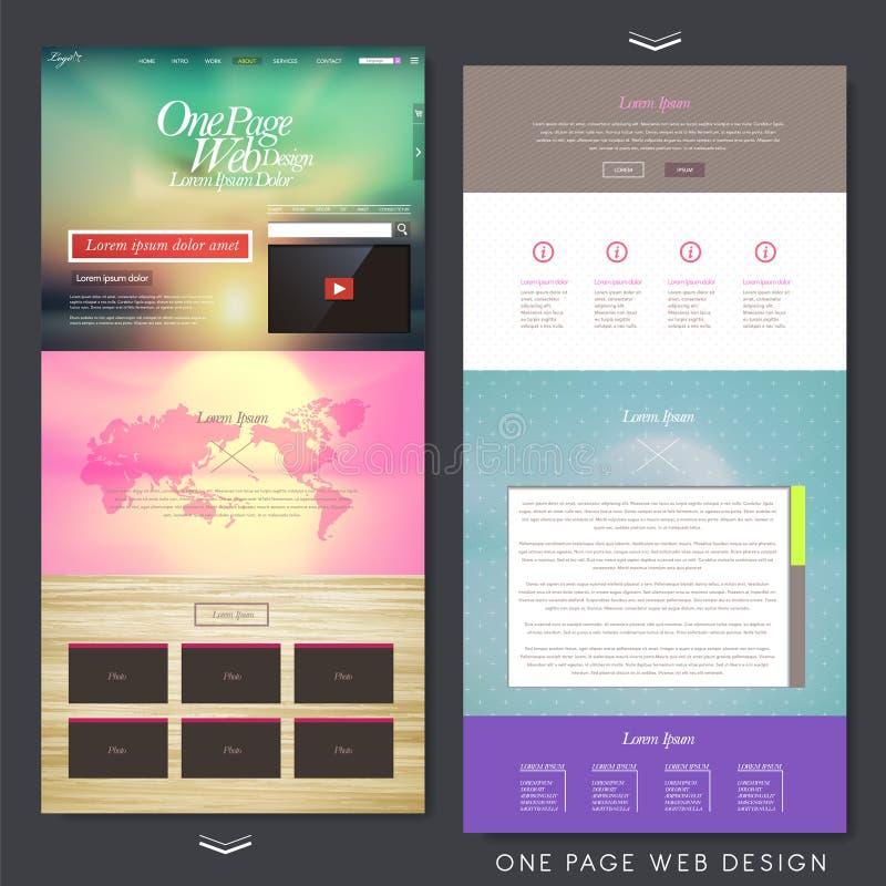 Plantilla moderna del diseño del sitio web de la página del estilo uno stock de ilustración