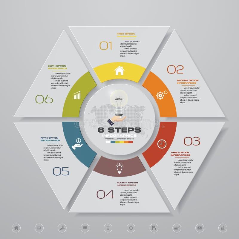 Plantilla moderna del infographics del negocio de la presentación de 6 opciones stock de ilustración