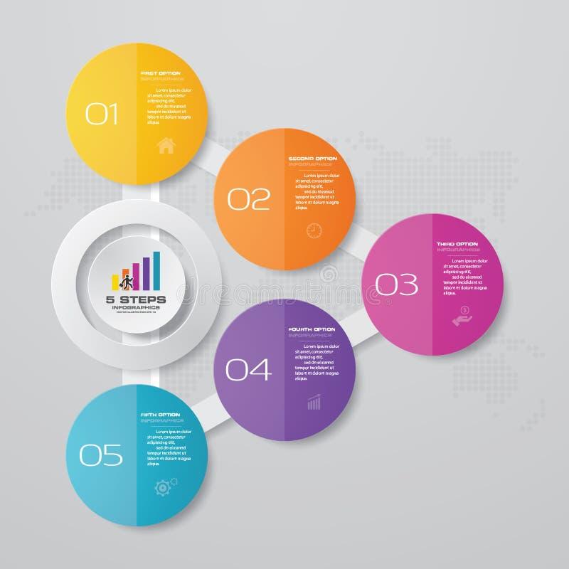Plantilla moderna del infographics del negocio de la presentación de 5 opciones ilustración del vector