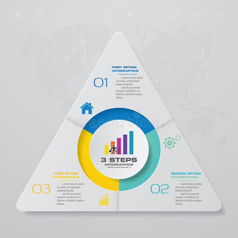 Plantilla moderna del infographics del negocio de la presentación de 3 opciones stock de ilustración
