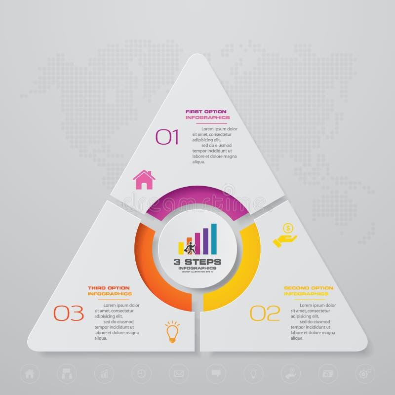 Plantilla moderna del infographics del negocio de la presentación de 3 opciones ilustración del vector