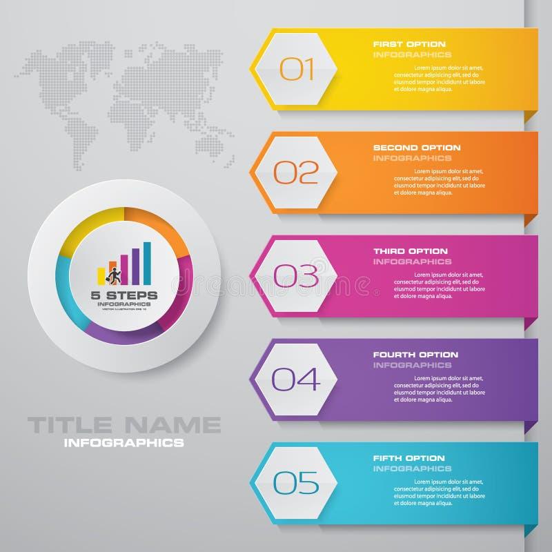 Plantilla moderna del infographics del negocio de la presentación de 5 opciones stock de ilustración