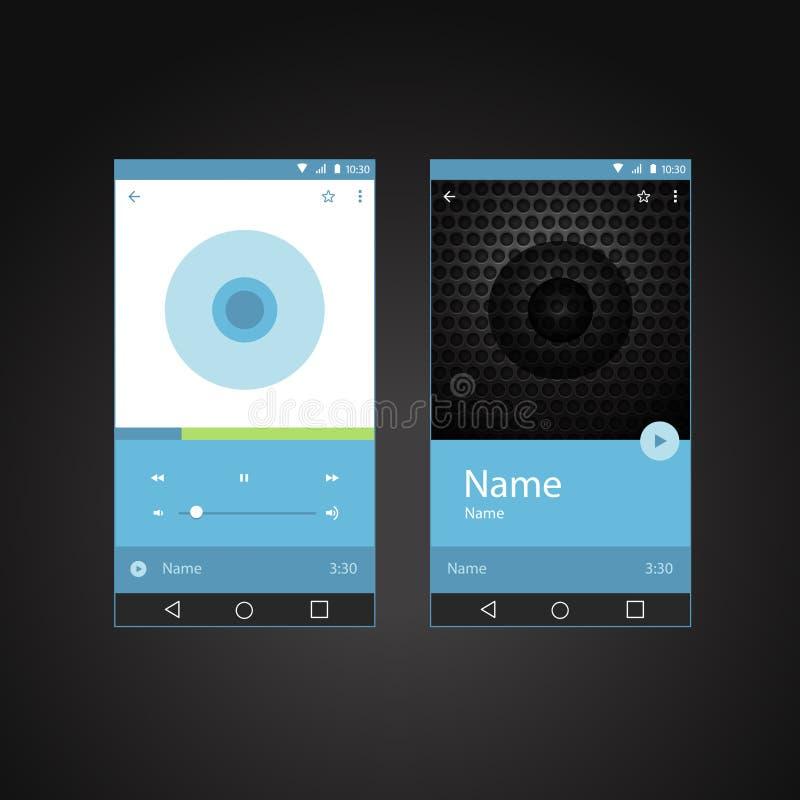 Plantilla moderna del interfaz del jugador del smartphone ilustración del vector